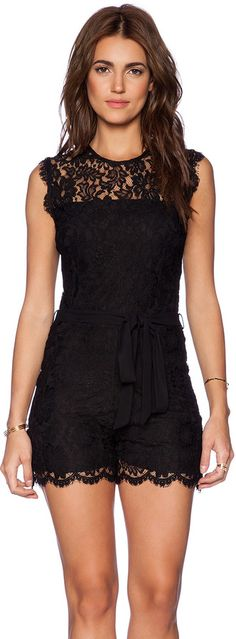 $183, Black Lace Playsuit: Karina Grimaldi Ariadne Lace Romper. Sold by Revolve Clothing. Click for more info: http://lookastic.com/women/shop_items/126735/redirect