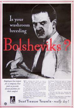 Poster ad/bathroom decoration; Big Tissue leading the way against communism!