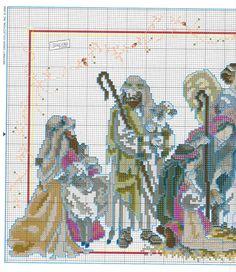 Presepe2 Cross Stitch Charts, Cross Stitch Patterns, Xmas Stockings, Religious Cross, Christmas Cross, Needle And Thread, Cross Stitching, Couture, Nativity