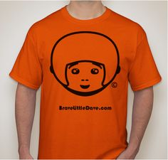 Brave Little Dave face character T Shirt sold on Bravelittledave.com website. By Publishers James & Mia Best. Youth sizes for kids.