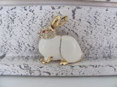 Vintage Jewelry 1970's Gold Enamel Rabbit by BroochesTheSubject, $19.50