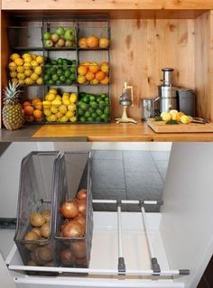 30 Creative Fruit and Vegetable Storage Ideas for Your Kitchen Interior Design Kitchen Creative Fruit Ideas Kitchen Storage Vegetable Kitchen Organisation, Diy Kitchen Storage, Home Decor Kitchen, Interior Design Kitchen, New Kitchen, Home Kitchens, Kitchen Dining, Kitchen Walls, Awesome Kitchen