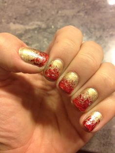 Red & Gold Glitter Gradient Manicure #nails #sparkle #ombre #holiday