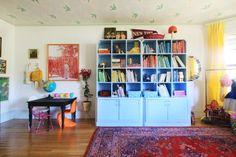 Farrow and Ball's Blue Ground paint on bookshelves
