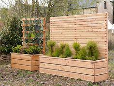 Pflanzkasten mit Sichtschutz - als Abgrenzung für Terrasse, Balkon uvm.. In verschiedenen Größen und Farben erhältlich.