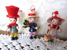 3 Wooden Christmas Figure Ornaments 1980's  by BonniesVintageAttic, $18.00