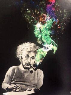 This psychedelic piece suggest that Einstein used to smoke hallucinogenic substances to fuel his brilliant scientific brain. What drew me to this image is the vibrancy off the smoke that contrasts against the grey figure that is Einstein. We All Mad Here, Psy Art, E Mc2, Photocollage, Psychedelic Art, Albert Einstein, Citation Einstein, Einstein Quotes, Collage Art