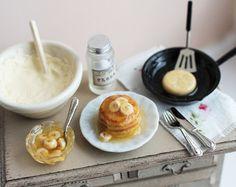 Dolls House Miniatur machen Pfannkuchen Set