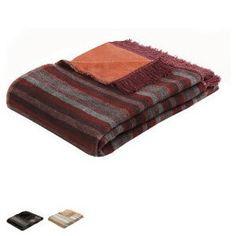 Sofadecke Thermosoft Top Plus Schmuseweiche Sofadecke mit zwei unterschiedlichen Seiten in Streifen und Uni.