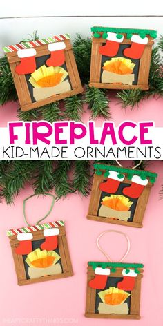 I Heart Crafty Things This craft stick fireplace craft is super easy and festive for kids to create for a Christmas craft. Add a hanging cord on the back to easily turn it into a homemade kid-made ornament. Grab our free printable template today!