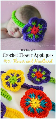 Flower and Headband Free Crochet Pattern-Easy #Crochet #Flower Appliques Free Patterns