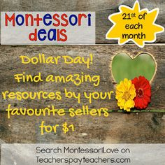 #MontessoriLove - Feb 21st Dollar Day. Each month on the 21st you can find a different deal!