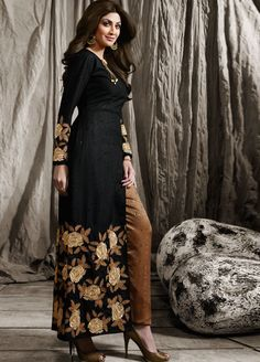 Buy Shilpa shetty black color raw silk party wear kameez in UK, USA and Canada Western Dresses, Indian Dresses, Indian Outfits, Indian Designer Outfits, Designer Dresses, Wedding Pants, Designer Suits Online, Indian Clothes Online, Shilpa Shetty