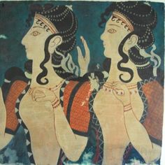 Ancient Minoan women fashion. Note: textured fabrics with intricate patterns
