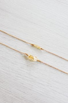 Citrine beaded bar necklace - Citrine necklace - Tiny citrine gemstone necklace - Citrine bead bar necklace - November birthstone necklace