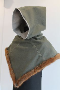 Viking hood with fur early medieval garment by NornasMystery