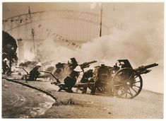 [Artillery fire the salute at the opening of the Harbour Bridge], 19 March by Sam Hood Harbor Bridge, Sydney Harbour Bridge, Over The Bridge, Doctor Johns, Australia Day, Maritime Museum, Middlesbrough, 12 Year Old, Old Photos