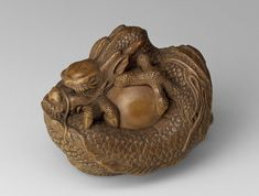 Dragon and pearl Netsuke. Japanese Edo Period mid 19th C. Artist Tomokazu . MFA Boston