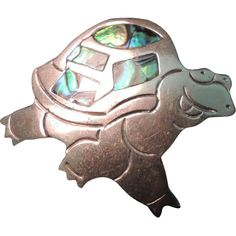 Vintage Mexican ALPACA Silver and Abalone Pin/Brooch
