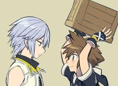 Riku has the 'Sora you're an idiot' face on.' 'I'm going to throw it at the enemy! It worked against Hercules in the coliseum!' 'no words, just -facepalm-<< sounds like that yeah Kingdom Hearts 3, Pixar Characters, Shounen Ai, Cute Anime Couples, Disney And Dreamworks, Disney Drawings, Final Fantasy, Anime Manga, Memes