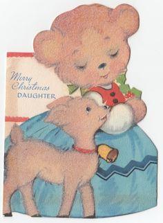 Vintage Greeting Card Christmas Bear Deer Reindeer Die Cut Gibson Flocked as Is   eBay