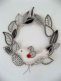Fabric wreath with birdy