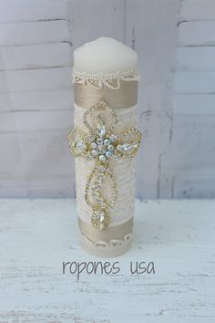 Cross Baptism candle set /Candle set for Baptism / Candle set Hand crafted /Religious Candle set /Christening Candle set White Glitter Candles, White Candles, Pillar Candles, Baptism Candle, Easy Christmas Decorations, Wedding Unity Candles, Wedding Glasses, Do It Yourself Crafts, Candle Set