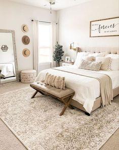 Room Design Bedroom, Room Ideas Bedroom, Home Decor Bedroom, Neutral Bedroom Decor, Bedroom Rugs, French Bedroom Furniture, Cozy Master Bedroom Ideas, Modern Boho Master Bedroom, Costal Bedroom