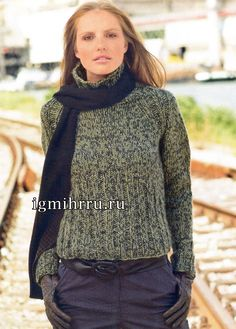 Меланжевый пуловер-реглан с высоким воротником. Вязание спицами