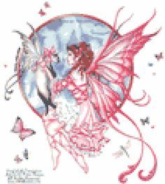 The Gift Large Fairy Cat Sticker Car Decal Nene Thomas Faery Faerie Kitty for sale online Cross Stitch Fairy, Cross Stitch Angels, Cross Stitch Charts, Cross Stitch Designs, Cross Stitch Patterns, Cross Stitching, Cross Stitch Embroidery, Elfen Tattoo, Fairies Photos