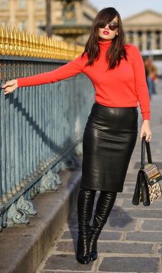 Red Turtleneck Knit Sweater & Black Leather Skirt