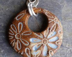 Flower Power Ceramic Pendant in rustic Desert Sky Blue, handcut and handmade from stoneware clay