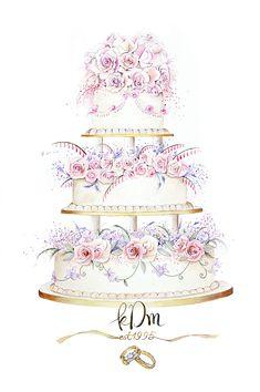 Modern wedding clipart - awesome modern wedding clipart, 13 modern bridal b Watercolor Cake, Watercolor Wedding, Watercolor Illustration, Floral Watercolor, Dessert Illustration, Wedding Cake Illustrations, Food Illustrations, Cake Sketch, Cake Drawing