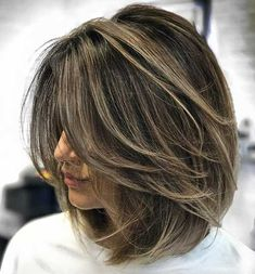 70 Brightest Medium Layered Haircuts to Light You Up Ash Brown Balayage Lob With Layers Haircut For Thick Hair, Wavy Hair, Wavy Lob, Fine Hair, Haircut Bob, Short Haircut With Layers, Lob Layered Haircut, Haircut Styles, Hair Cuts Thick Hair