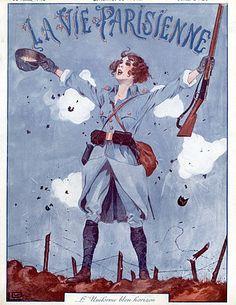 Georges Léonnec 1915 Military Soldier Girl, Blue Uniforme, World War I