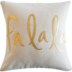 FaLaLa Pillow, Oatmeal and Metallic Gold, Christmas Decoration ($59) ❤ liked on Polyvore featuring home, home decor, gold home accessories, gold home decor, christmas home decor and metallic home decor