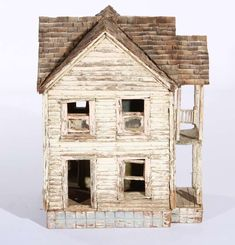 Wonderful Late Century American Model of a Clapboard House For Sale 3 Clay Houses, Ceramic Houses, Miniature Houses, Miniature Dolls, Doll Houses, Cardboard Houses, Mini Houses, Antique Toys, Vintage Toys