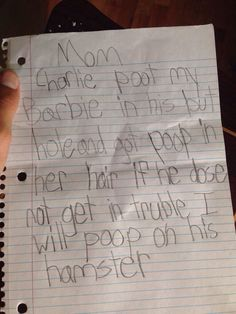 Funniest tattle tale letter. Ever.