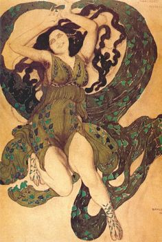 Leon Bakst47/106 Nymph Costume Design for the ballet in one act Narcisse Diaghilev (Subtitle) (1911)