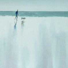 Dog walker - watercolour by Tony Hatt