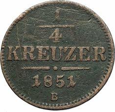 1851 Austria King Franz Joseph I Eagle Genuine Austrian 1 4 Kreuzer Coin I76541 Coins Coin Values Austrian