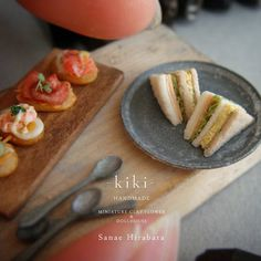 Set of Coffee and Fruit Cream Sandwich Dollhouse Miniatures Food Bakery Yummy-16