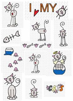 pali - Leslie - Picasa Web Albums I love my cat sketches Doodle Drawings, Easy Drawings, Doodle Art, Doodles, Stick Figures, Cat Drawing, Learn To Draw, Rock Art, Cat Art