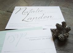pairings for mint green wedding   Pictured: Flirt Wedding Invitation in mint and umber inks.