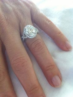 """A huge ""thank you"" to Sylvie Collection for my breathtaking diamond ring (SY260 with oval center diamond)! The design is timeless and elegant, and the ring is exquisitely created. I couldn't have wished for something more special to celebrate 20 years of marriage. Thank you Sylvie!""     -Jacqueline Lampert"
