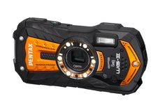 """Pentax Optio WG-2 GPS Orange Adventure Series 16 MP Waterproof Digital Camera with 5 X Optical Zoom and GPS. Pentax's 13th generation rugged, adventure proof camera with backlit 16MP CMOS sensor for superior quality and high res imaging. Waterproof to a depth of 40 feet, shock proof to 5 feet, cold proof to 14 degrees F, dustproof. Wide angle internal optical zoom (28-140mm equivalent). Large 3"""" LCD w/HVGA resolution. Full HD 1080p video at 30FPS with high quality h.264 compression."""