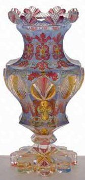 An exceptionally rare Bohemian multi-coloured cased vase