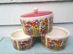 FLOWER POWER vintage 1960s Stacking Canister Snack Set by cammoo