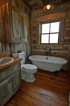 Raw wood, authentic charm Bathroom. Cabin fever!