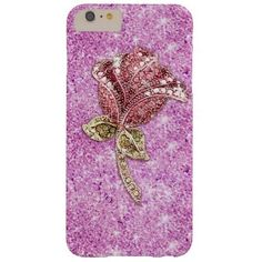 Glitter red rose flower on purple barely there iPhone 6 plus case